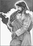 Jesus Holding Teen girl black and white
